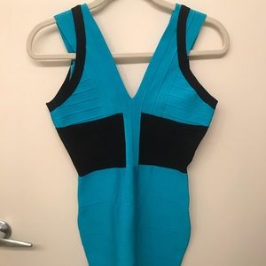 Helmut Lang Blue & Black Bandage Dress - Size 6